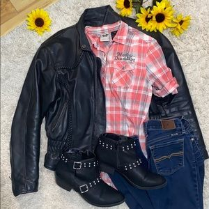 Black leather motorcycle jacket with insulation